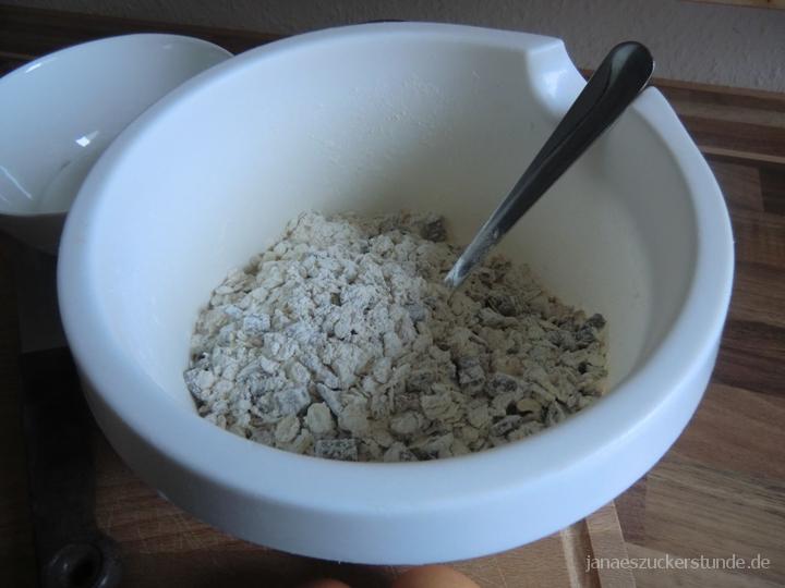 Trockene Zutaten für Oatmeal Stuffed Cookies