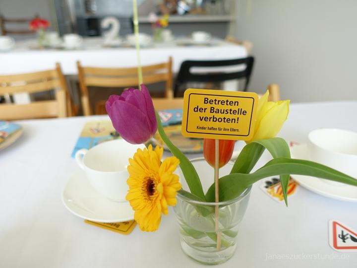 Baustelle Blumen für Kindergeburtstag